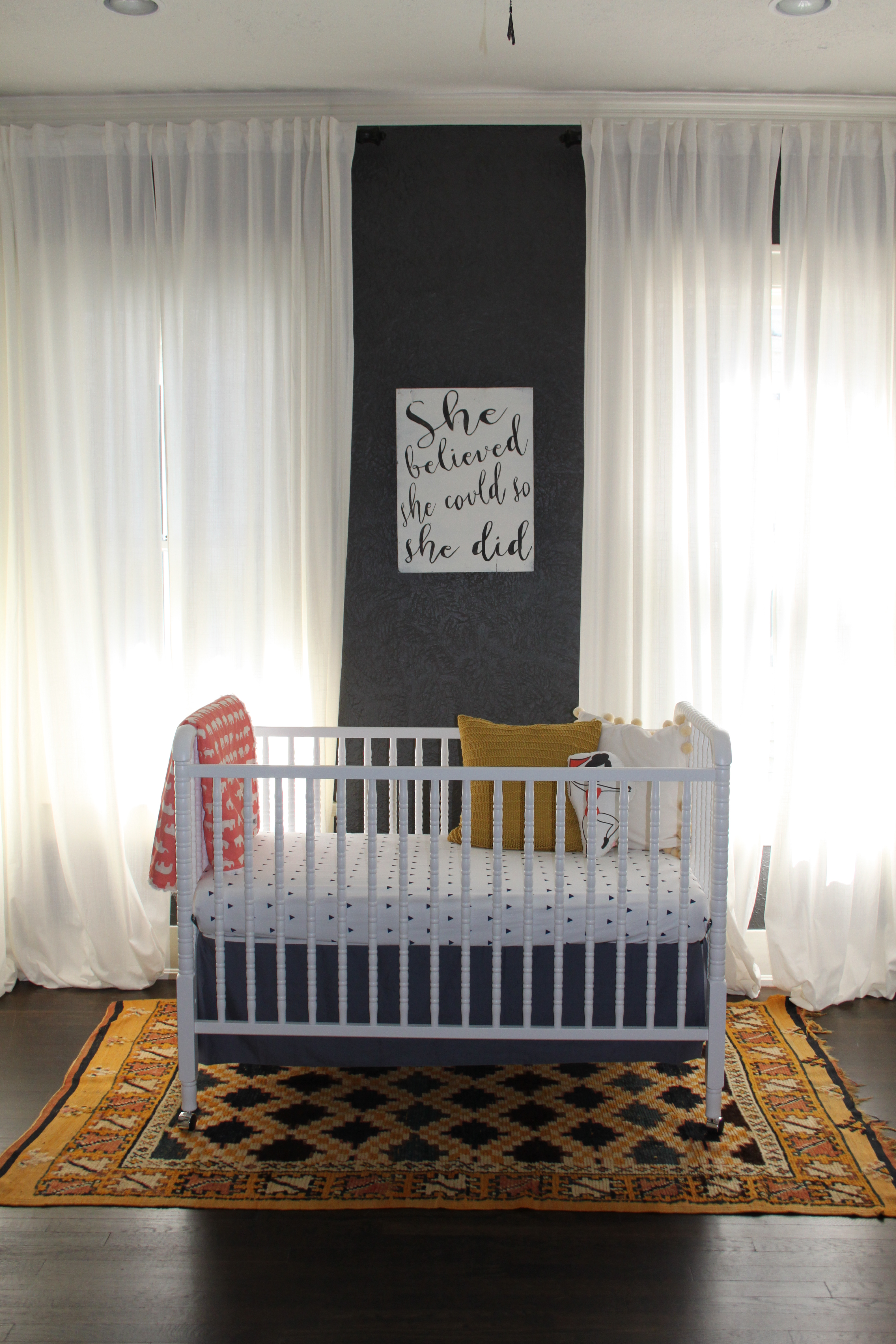 Crib for sale dallas - Jenny Lind Crib Vintage Rug From Morocco Elephant Blanket From Madly Wish Painted Sign From Dallas Flea Extra Long Drapes From Ikea Sheets And Crib
